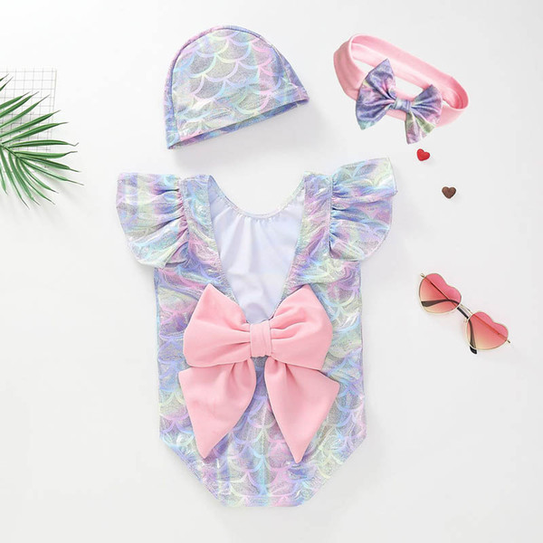 top popular Ins 2019 new Kids Swimwear Mermaid Girls Swimsuit One-piece+hat+bows Headbands Kids Bathing Suits Girls Swim Suits Baby Swimwear A4008 2021