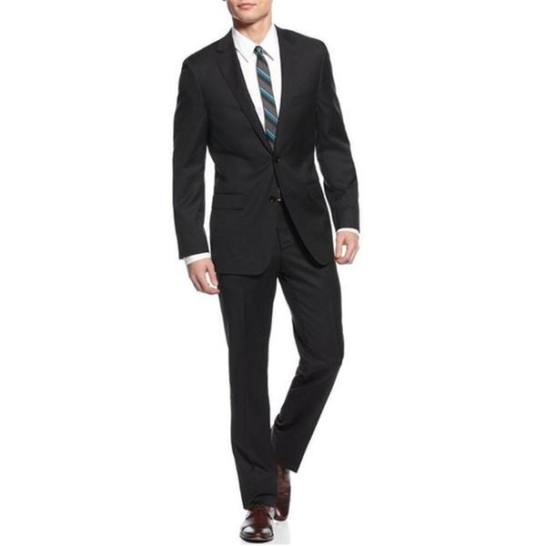 Handsome New Arrival Groom Tuxedos Notch Lapel Best men Suit Black Groomsman Bridegroom Wedding Prom Suits (Jacket+Pants)