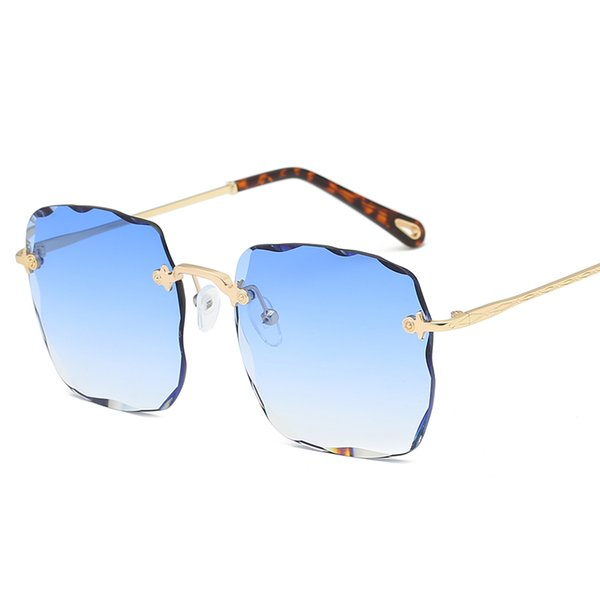 New top fashion brand designer fashion sunglasses square cutting lens frameless fashion style simple quality men and women sunglasses