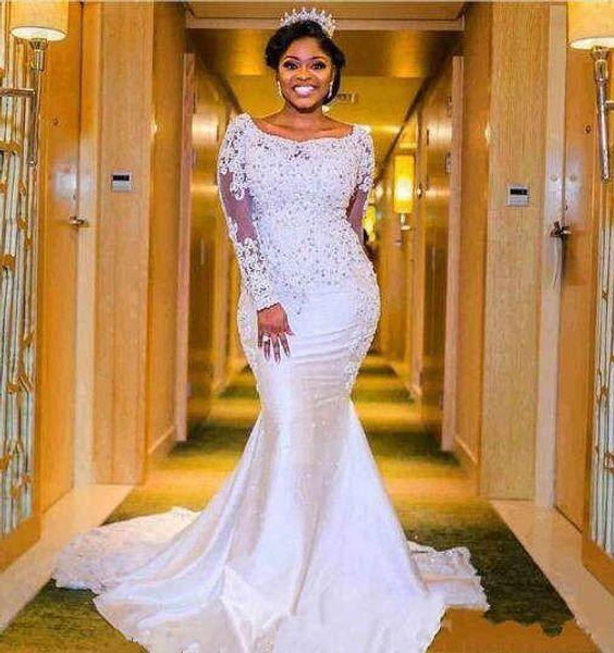robe de mariée African Wedding Dresses 2019 Illusion Long Sleeve Sweep Train Satin Lace Dubai Beads Princess Mermaid Plus Size Bridal Gowns
