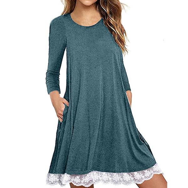 Designer Vestido Mulheres Designer Clothes S Vestidos Neck Lace Sólidos manga comprida solta Mini vestido Mulheres Casual Vestido Vestidos Vestidos Robe