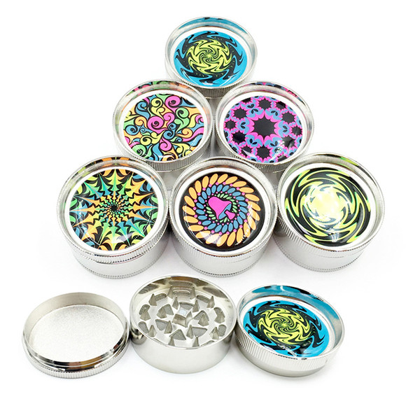 Coloured pattern Tobacco Smoking Herb Grinders 3 Layers Colourful Metal grinder Dia 50mm Smoking Accessories For Gift