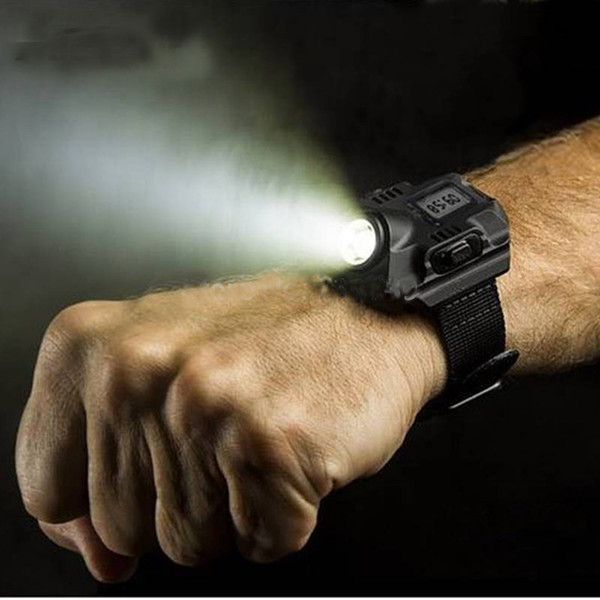 best selling New Portable XPE Q5 R2 LED Wrist Watch Flashlight Torch Light USB Charging Wrist Model Tactical Rechargeable Flashlight