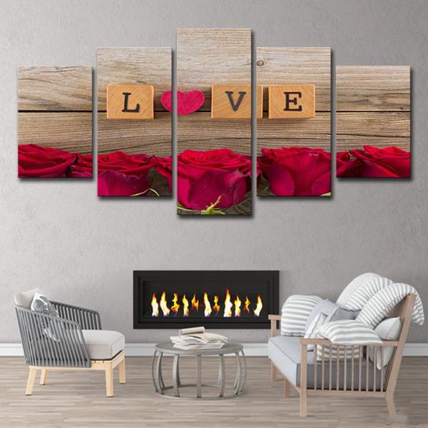(Solo tela senza cornice) 5pcs a forma di cuore Rose rosse Decor Wall Art HD stampa su tela pittura moda appendere le immagini