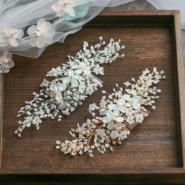 Jonnafe Gold Silver Floral Hair Comb For Bride Tiny Beaded Wedding Hair Jewelry Accessories Hand Wired Bridal Headpiece Y19051302