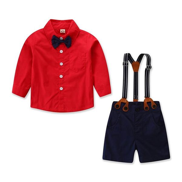 Moda Çocuklar Erkek Bebek Beyefendi Giyim Kırmızı Gömlek Tops + Genel Önlüğü Pantolon + Papyon Kıyafet Çocuk giyim Seti 3E12