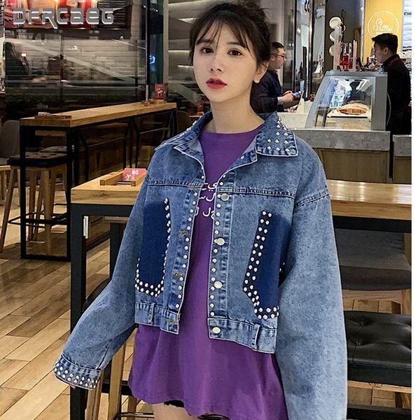 2019 neue Ankunft Antumn Winter Denim Jacken mit Perlen Perlen Langarm Kurzarm Denim Jacken Lose Streetwear Frauen Lose