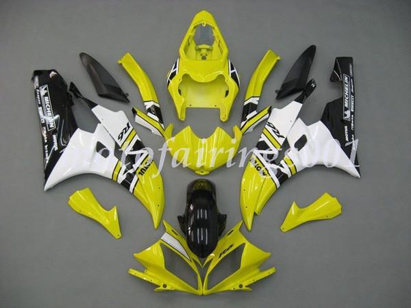 Novo estilo ABS carenagens Kit Fit For Yamaha YZF-R6 R6 2006 2007 07 Personalizado Amarelo gratuito Black White