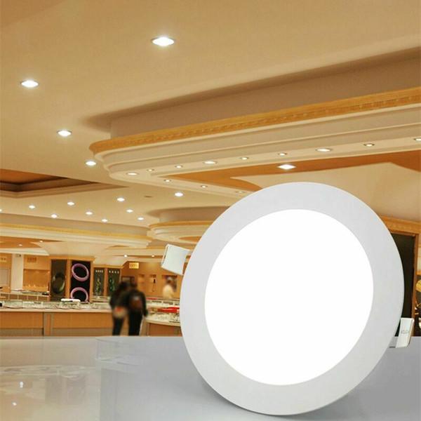 2x 12w paneles empotrada en el techo circulares bombilla del LED de las lámparas de uso doméstico de la lámpara hacia abajo