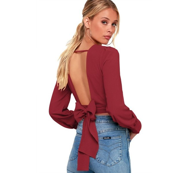 PEONFLY Backless Short Women Sexy T Shirt Fashion Bow Clothes Tops Long Sleeve Solid Color Korean Female Streetwear Harajuku
