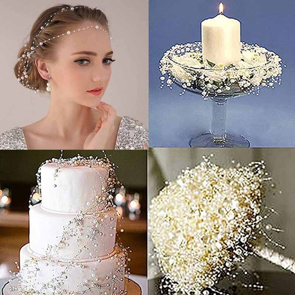 Fishing Line Bead Chain 8+3mm Fishing Line Artificial Pearls Beads Chain Garland Flowers DIY Bride Hair Wedding Centerpiece Party Decor