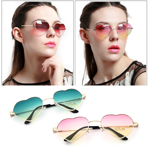 Womens Love Heart Shape Lens Sunglasses Eyewear Eye Glasses Shades Metal Frame Stylish Boho Lolita Party Festival Fancy