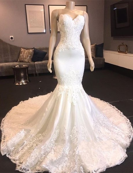 New Mermaid Lace Appliques Wedding Dresses Sweetheart Sleeveless Court Train Fashion Bridal Dresses Bodycon Slim Charming Luxury Gowns Cheap