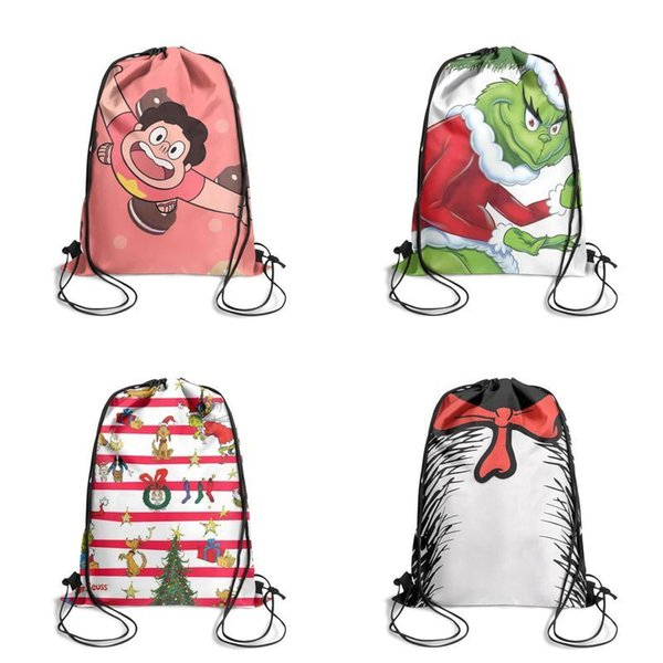 Steven Universe Cooking cat Cartoon Printing Unicorn Drawstring Bags non-woven pony Backpack students Shoulder storage pouch cute sports