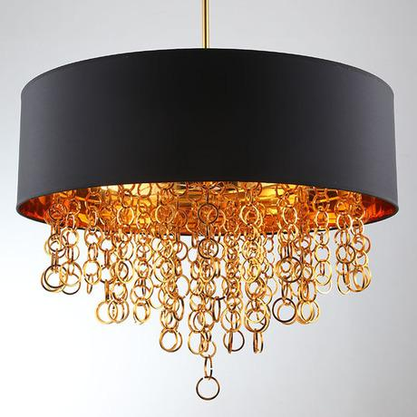 Modern Chandeliers with Black Drum Shade Pendant Light Gold Rings Drops in Round Ceiling Light Fixture