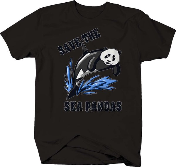 Save the Sea Pandas Conservation Dolphin Ocean T-shirttop free shipping t-shirt