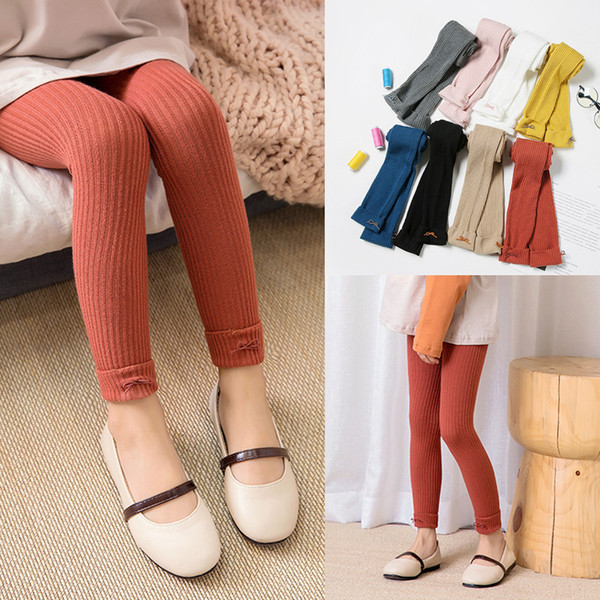 best selling Girls Autumn Winter leggings Tights Bow Kids knitted Stockings skinny slim pants Warm Baby Solid Candy Color Tight Pantyhose LJJA3047