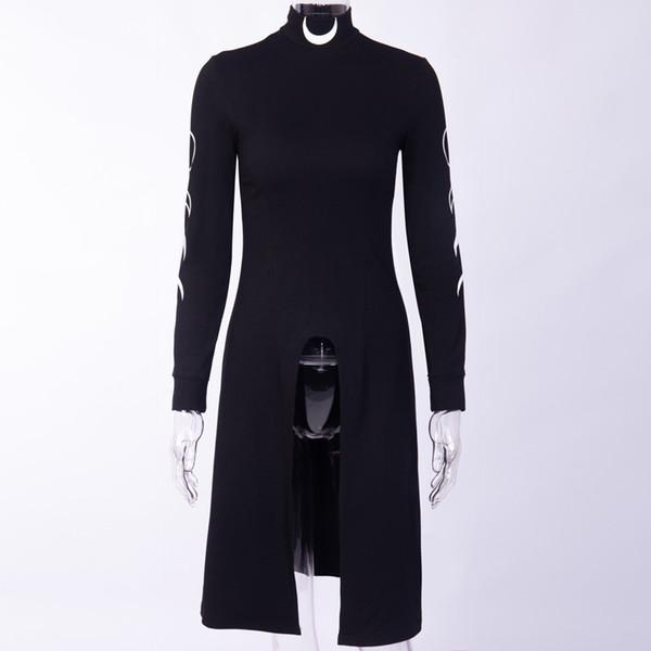 Kinikiss 2019 mulheres preto gótico dress moon sexy tartaruga pescoço goth slim moda micro-elástica manga longa festa