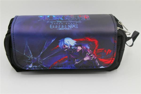 Anime giapponese Tokyo Ghoul Borsa per penna Anime Borsa per matita doppia ad alta capacità Cartoleria Borse per trucco cosmetico Astucci 2 stile