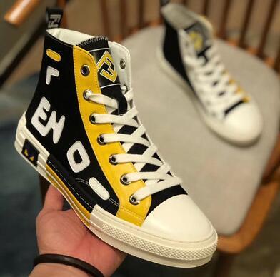 Haute Qualité Nouveau Designer De Luxe Fen Été Ace Hommes Sneaker Di Célèbre Marque Haut de gamme Lettres Couture Toile Respirant Mâle Mocassins Chaussures