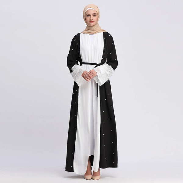 764f527c95 Wholesale Muslim Women Patchwork Open Abaya Dress S-2XL Islamic Women Lace  Beading Jilbab Abaya for Sale