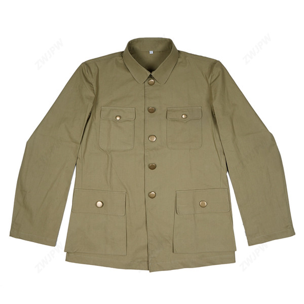 CHINA KMT MEN UNIFORM TYPE CHINESE SUIT SOLIDER JACKET ANTI - JAPANESE GRASS GREEN JACKET COPY FILM EXPORT PURE COTTON
