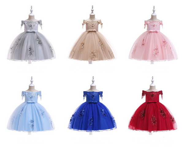 Half Open Shoulder Girl Dresses Lace Princess Skirt With Beads and Flowers Pattern Embroidery Tutu Skirt