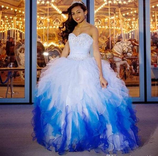 Magnifiques Robes De Quinceanera Pas Cher 2019 Chérie Perlée De Volants Debutante Bleu Mascarade De Bal Robes Sur Mesure Make Sweet 16 Robe