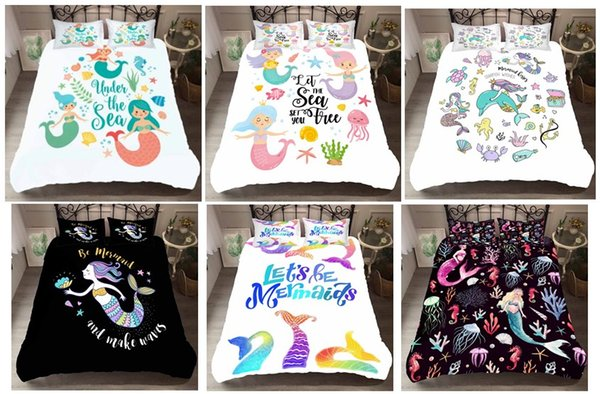 Cartoon Colorful Mermaid 3D Printed Home textiles Down Duvet Cover /Comforters Bedding sets ,Twin,Full,Queen,King