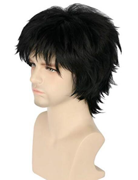 Topcosplay Woman Men Wig Short with Bangs Layered Fluffy Cosplay Halloween Wigs