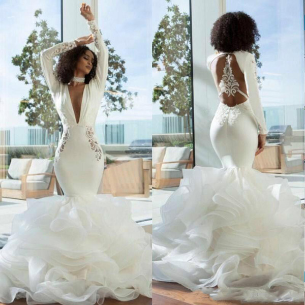 ccb0fb68903 Dubai Deep V Neck Wedding Dresses Long Sleeves Lace Hollow Back Mermaid Bridal  Dress Ruffles Tiered