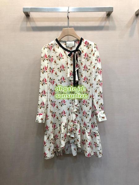 Women Ruffle 100% Silk Flora Print Dress Feminine High Quality Tops Casual Shirts Girls Pleated Runway Pencil Asymmetrical Brief Dress 2019