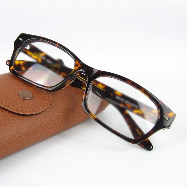 Marco óptico de alta calidad con marco de acetato real negro y tortuga con lentes claras marca R 5130 55-16-140 SIN CAJA
