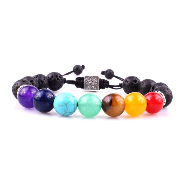 Tree of Life Weave 10MM Black Lava 7 Chakra Beads Buddha Healing Chakra Pray Mala Bracelet Men Women Jewelry