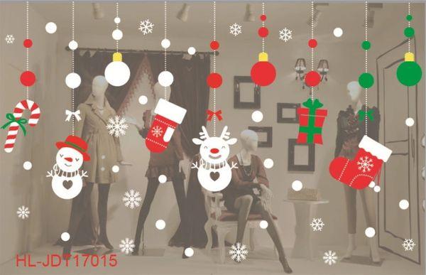 Compre 2019 Santa Murales Tienda De Renos Pegatinas De Ventana Decorado  Navidad Pegatinas De Pared De Cristal Copo De Nieve Ventana Decoración De