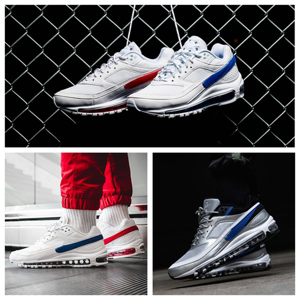 4a57475c2810 2019 New Release 97 BW x Skepta London Bronze Running Shoes 97s Ultra  Metallic Silver Violet Trainers Sneakers Chaussures Zapatillas 36-46