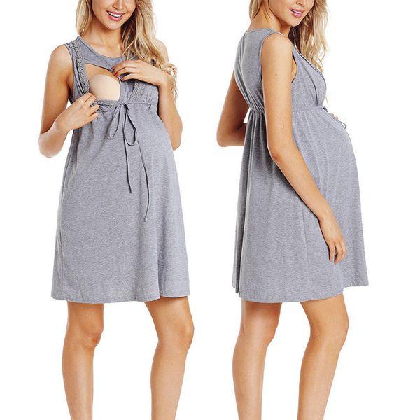 Pflege von ärmellosen Rock für Schwangere und Stillkleid für Mütter im Sommer vestido de mujer #T