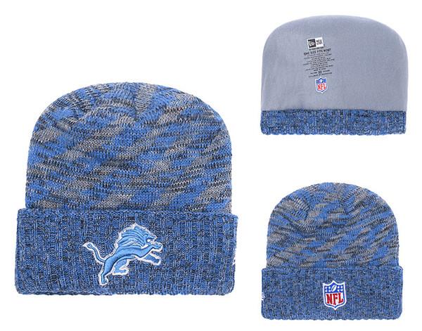 Men's Detroit Lions New Blue 2018 Sideline Cold Weather Black Official Sport Knit Hat