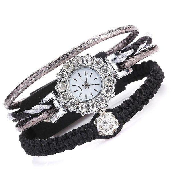 weaving exquisite rhinestone watch for women fashionable simple leather strap pin buckle quartz watch spring summer new trend, Slivery;brown