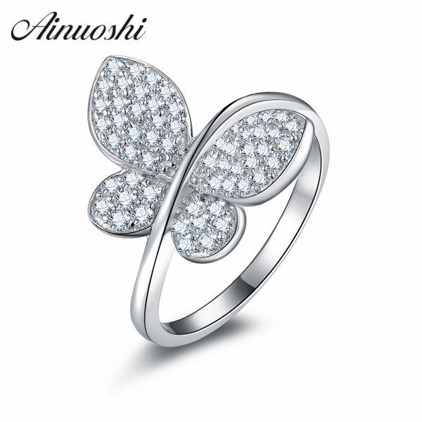 AINUOSHI dedo elegante estilo vintage anel 925 Borboleta animal prata Sterling em forma Y200106 Jóias anel de noivado Lady casamento
