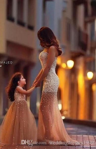 Bling Prom Dresses Flower Girl Dress Full Beaded Top V Neck Little Girl Formal Dresses Princess Gown Daughter Dresses Celebrity Dress