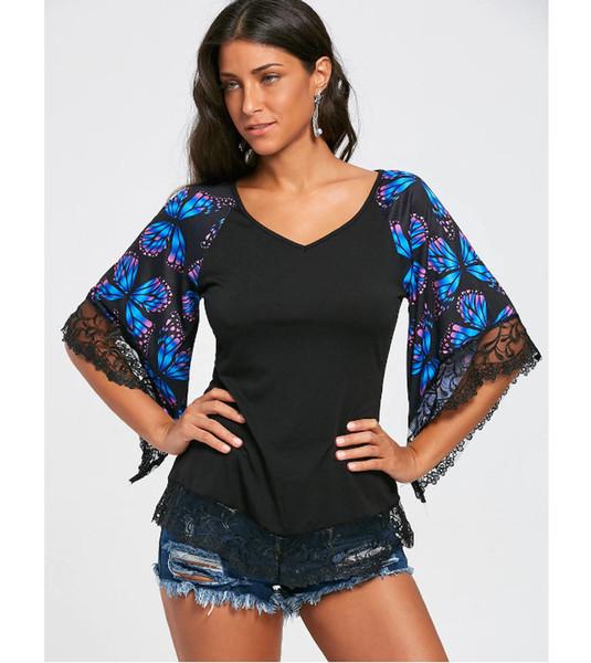 Misturar e combinar bem-vindo 2019 comércio exterior novo eBay AliExpress impressão de manga curta rendas costura T-shirt com decote em V
