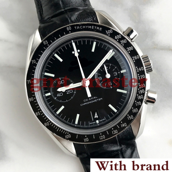 New high quality SPEED Series MASTER CO-AXIAL black multi-function dial, leather strap, sapphire glass, luxury men's wristwatch