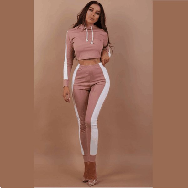 tracksuit for women 2019 Fashion casual sports suits women two piece set Tight short Hoodie + trousers women's suit top pants