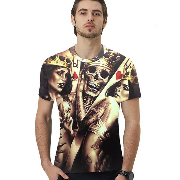 Palyaço ile erkekler için yeni Yaz T Gömlek Moda Erkek Tasarımcı T Shirt Severler Kafatası 3D Kısa kollu Tops Tees Giyim S-3XL