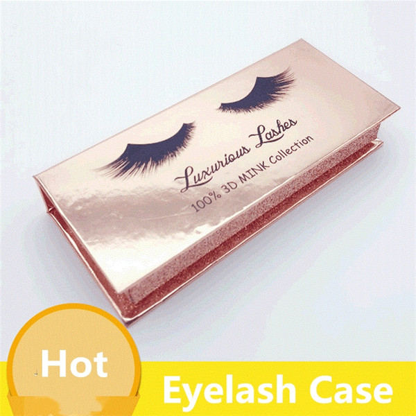top popular Rectangle False Eyelash Case Gold Paper Mink False Eyelashes Box Cosmetics empty Eye Lashes Package Boxes F0043 2021