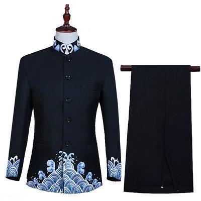 pantolon / sahne performansı / stüdyo takım elbise yaka dalga nakış smokin ceket standı Freeship erkek / çin tarzı