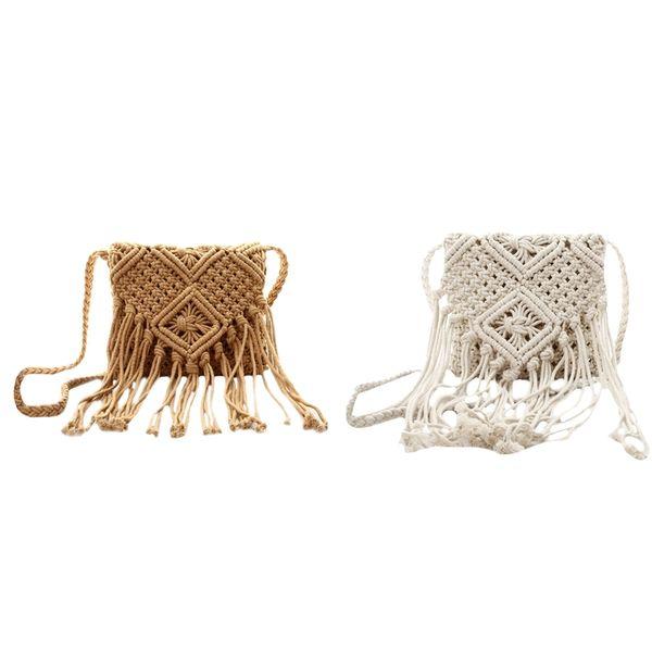 2 Pcs borla de la franja Crossbody del bolso de hombro hecho a mano en telar de playa de Boho del recorrido del bolso de las mujeres, Marrón Blanco