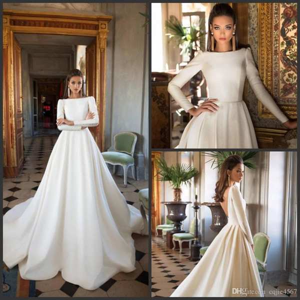 2019 Nuevos vestidos de novia Milla Nova Vestidos de novia de manga larga Satin Backless Sweep Train Vestidos de novia de manga larga Bateau Neck Winter Plus Size