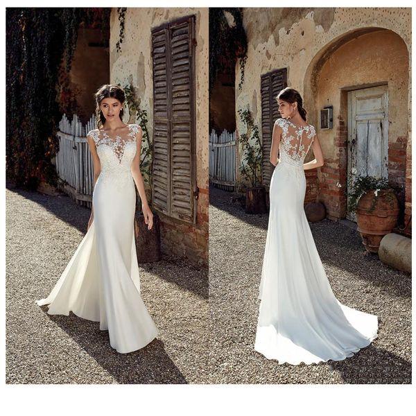 Модное без рукавов прозрачное декольте Аппликация Кружевные свадебные платья 2019 Русалка Поезд Illusion Свадебное платье Белая слоновая кость